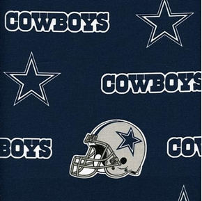 Nfl Football Dallas Cowboys Logos On Blue 18X29 Cotton Fabric