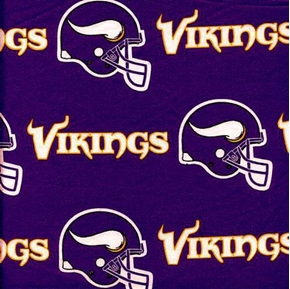 Nfl Football Minnesota Vikings Helmets Purple Oop 18X29 Cotton Fabric