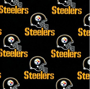 Nfl Football Pittsburgh Steelers On Black 18X29 Cotton Fabric