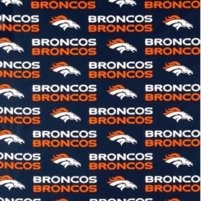 Nfl Football Denver Broncos On Blue 18X29 Cotton Fabric