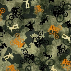Picture of Sports Extreme Street Bikers and Skaters on Sage Cotton Fabric