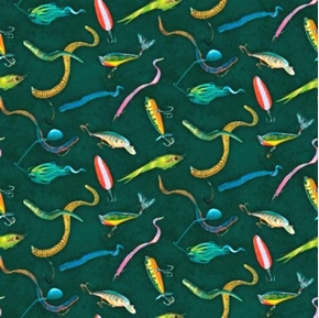 Stillwater Bass Bait And Lures On Teal Cotton Fabric