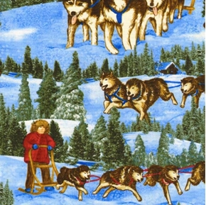 Dog Sleds Racing Huskies Iditarod Trail Cotton Fabric