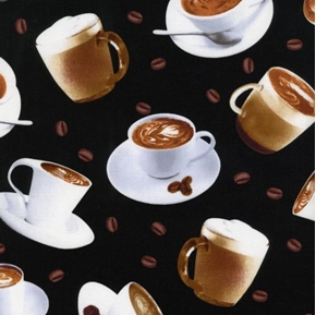 Coffee Dessert Drinks And Coffee Beans Black Cotton Fabric