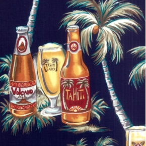 Tropical Beers And Palm Trees On Navy Cotton Fabric