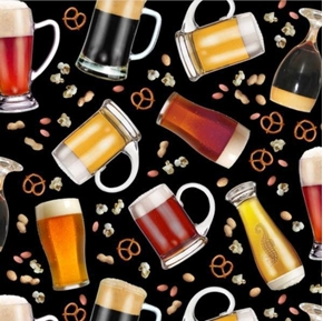 Happy Hour Beer And Snacks Tossed On Black Cotton Fabric