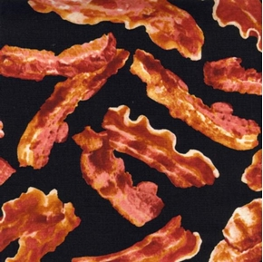 Delicious Strips of Breakfast Bacon Black Cotton Fabric