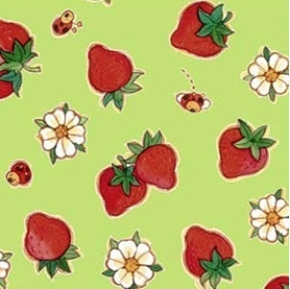 Flannel Strawberries And Flowers Lime Green Cotton Fabric