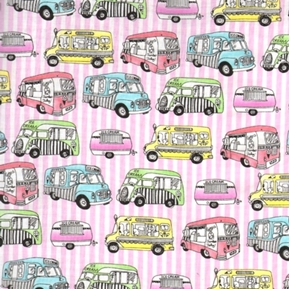 Ice Cream You Scream Ice Cream Trucks Cotton Fabric