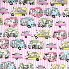 Ice Cream You Scream Ice Cream Trucks Cotton Fabric