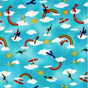 Fly Away Planes and Rainbows In The Clouds Cotton Fabric