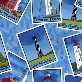 Picture of Lighthouses Scattered Squares on Blue Cotton Fabric