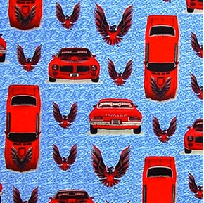 Classic Pontiac Red Firebird Cars Cotton Fabric