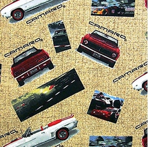 Flannel Chevy Camaro Cars Photos on Beige Cotton Fabric
