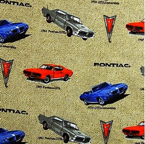 Flannel Classic Pontiac Gto Cars On Beige Cotton Fabric