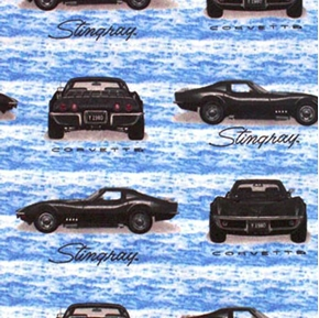 Flannel Classic Chevy Chevrolet Corvette Stingray 1980 Cotton Fabric
