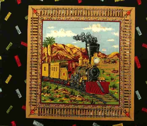 Steam Engine Train And Stage Coach Cotton Fabric Pillow Panel