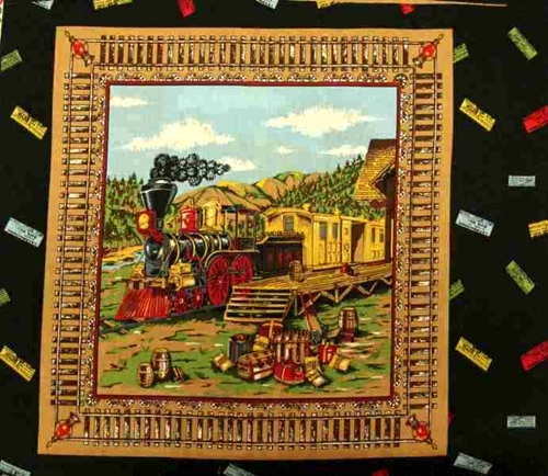 Steam Engine Train And Traveling Trunks Cotton Fabric Pillow Panel