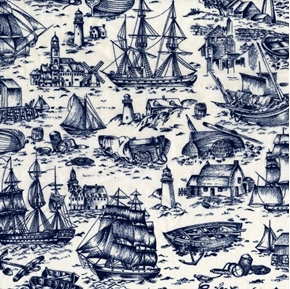 Ancient Mariner Scenic Navy Blue Toile Cotton Fabric