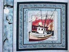 Its a Fishermans Life For Me Nautical Cotton Fabric Pillow Panel