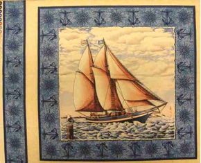 Port Of Call Large Sailboat Sailing On Sea Cotton Fabric Pillow Panel