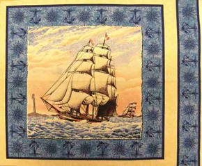 Port Of Call Tall Ship Sailing On The Sea Cotton Fabric Pillow Panel