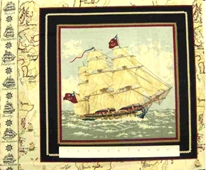 Ancient Mariners Tall Ship Anchor Flag Cotton Fabric Pillow Panel