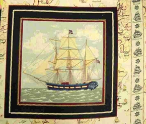 Picture of Ancient Mariners Tall Ship Anchor Cross Cotton Fabric Pillow Panel