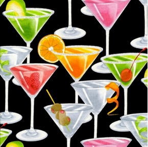 Picture of Martinis in Glasses Sparkling Rims on Black Cotton Fabric