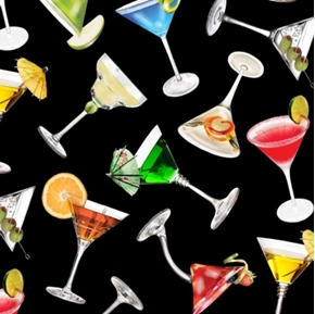 Happy Hour Margaritas and Martinis on Black Cotton Fabric