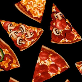 Pizza Slices With Toppings Cotton Fabric