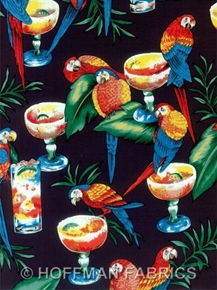 Parrots Margaritas And Drinks On Black Cotton Fabric