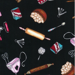 Picture of Baking Utensils and Ingredients on Black Cotton Fabric