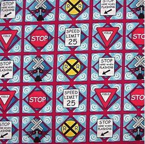 Picture of Ride the Rails Railroad Train Signs Cotton Fabric