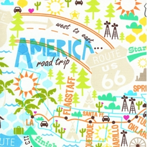 Picture of Travel America Destinations Icons on White Cotton Fabric