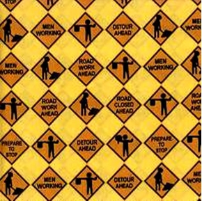 Road Construction Signs in Rows on Yellow Cotton Fabric