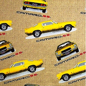 Flannel Classic Chevy Yellow Camaro Ss Cars Cotton Fabric