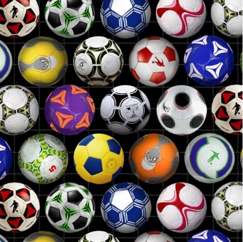 Soccer Balls in Colors on Black Cotton Fabric