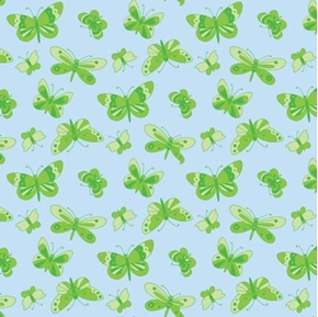 Picture of Believe Green Butterflies on Pale Blue Cotton Fabric