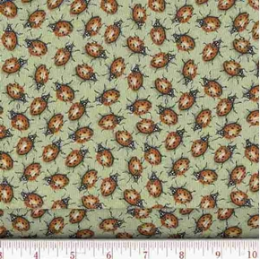 Picture of Creature Comforts Ladybugs on Green Cotton Fabric