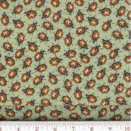 Creature Comforts Ladybugs On Green Cotton Fabric