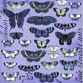 Short And Stout Butterflies Rows Purple Circa 1735 Cotton Fabric