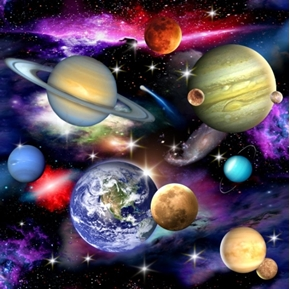 In Space Solar System Planets And Galaxies Cotton Fabric