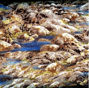 Sunset Lake Stream Flowing Through Rocks Cotton Fabric