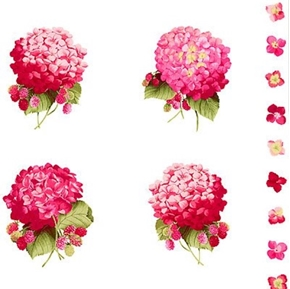 Hydrangea Pink Corsages on White Cotton Fabric