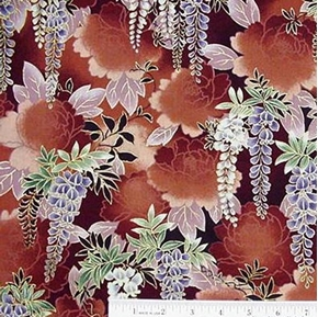 Picture of Oriental Wisteria in Gold Cotton Fabric