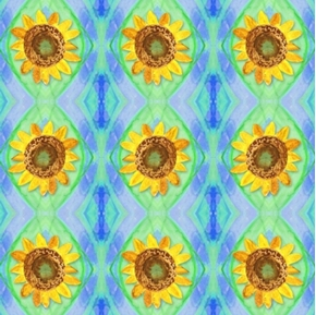 Picture of Impressions Sunflowers on Geometric Designs Cotton Fabric