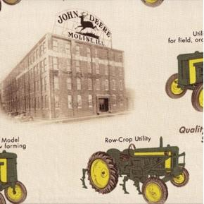 Picture of John Deere Vintage Tractors and Factory Cotton Fabric