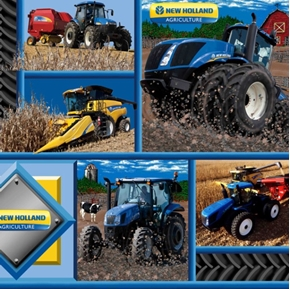 Picture of New Holland Agriculture Tractors in Squares Cotton Fabric