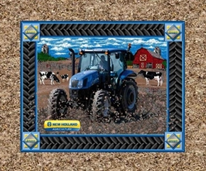 New Holland Blue Tractor And Cows Farm Cotton Fabric Pillow Panel